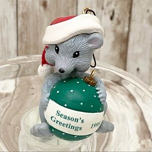 Vintage 1995 Seasons Greetings Mouse Ornament